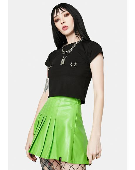 School Neon Green Vegan Leather Pleated Skirt
