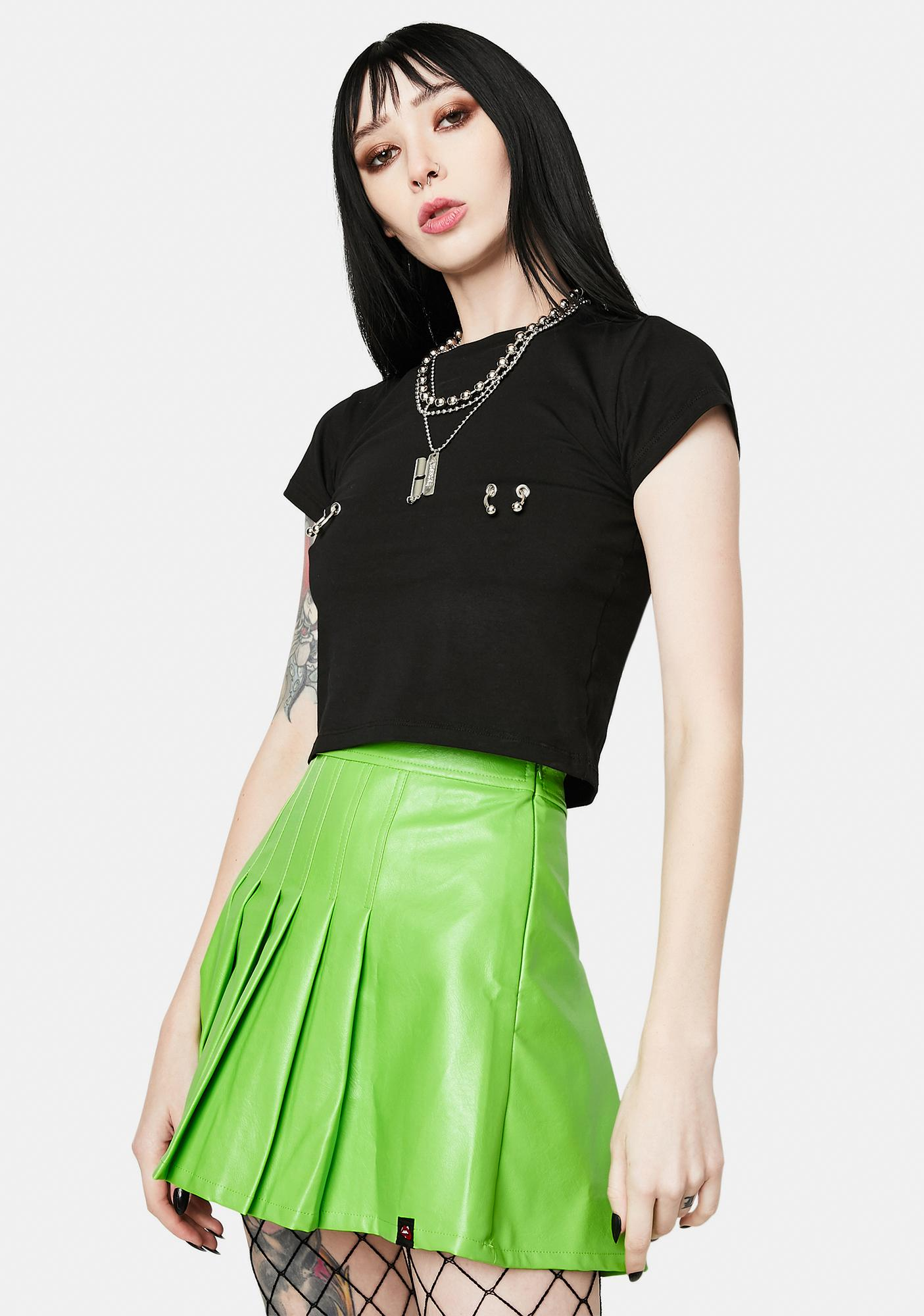 Alice's Lips School Neon Green Vegan Leather Pleated Skirt