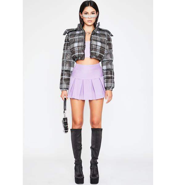 Lavender Wicked Scholar Pleated Mini Skirt