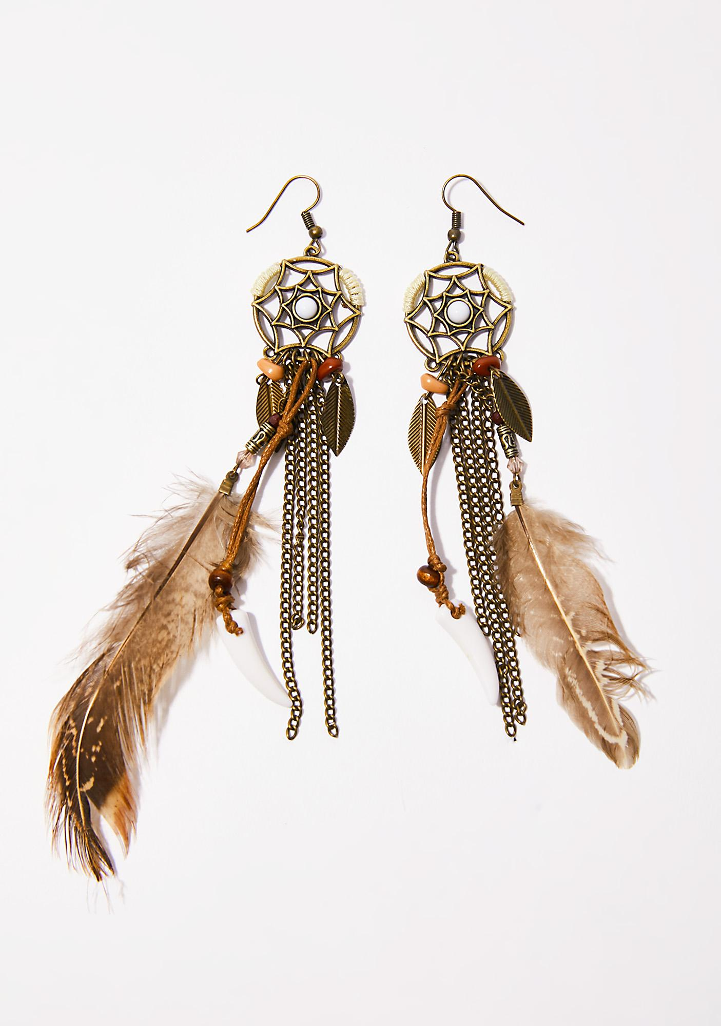 design knifedreams chain earrings in hooks feather silver esko and feathered