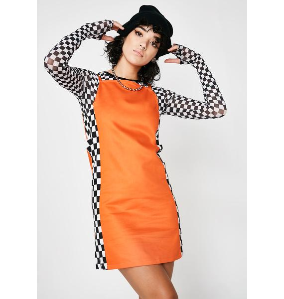 LOVE TOO TRUE Orange Check Mini Dress
