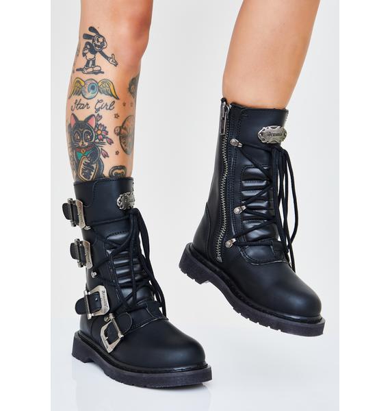 Demonia Dust Stomper Unisexx Buckle Boots