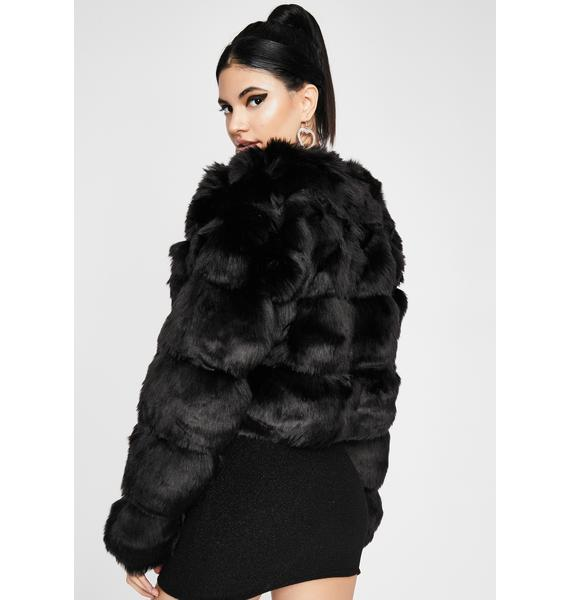 Noir Spoiled Sweetheart Faux Fur Jacket