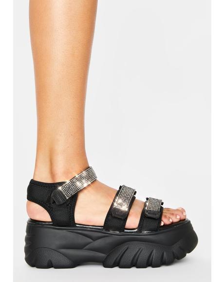 Black Pressure Platform Sandals