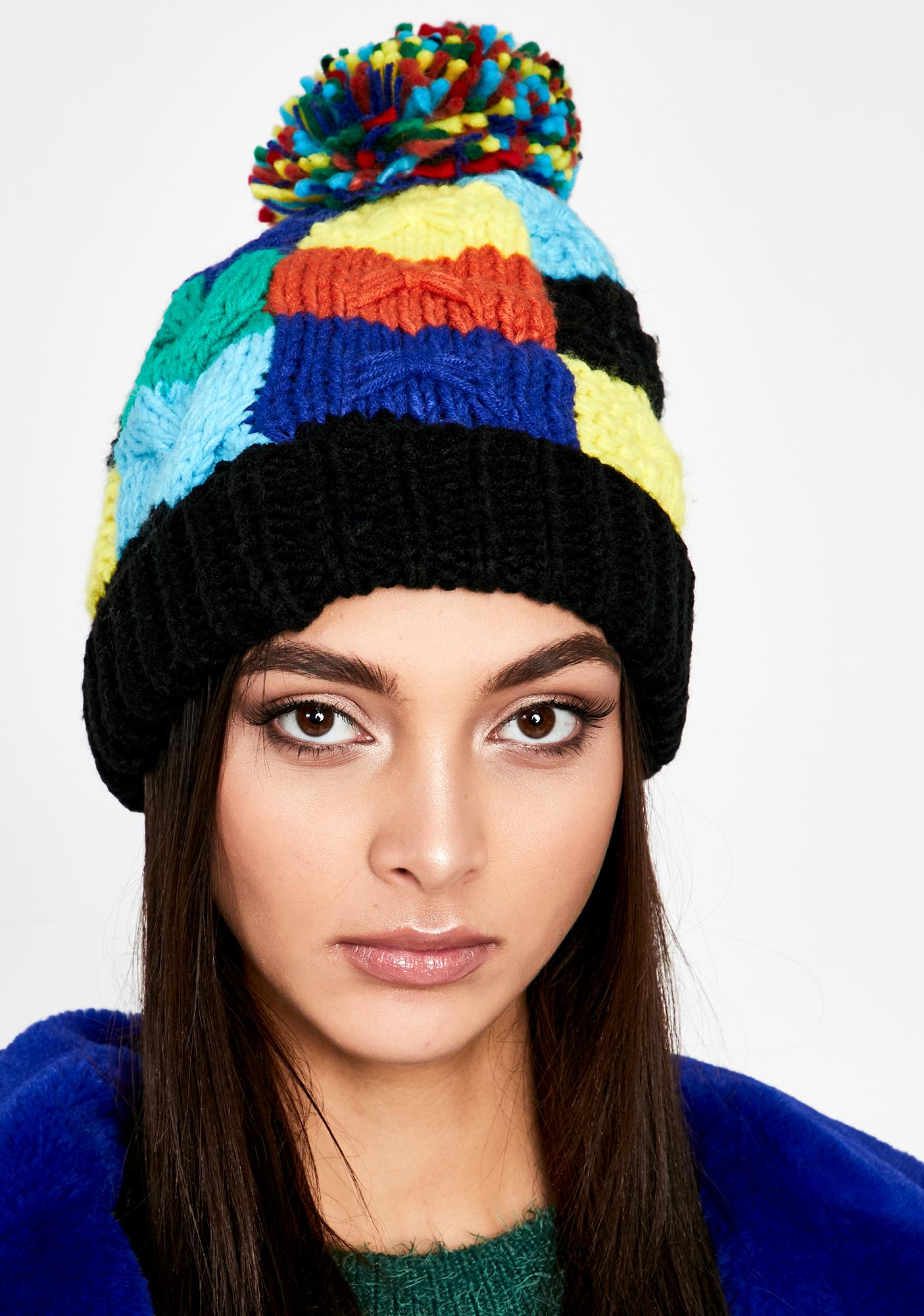 Dark Perfectly Patchworked Knit Beanie