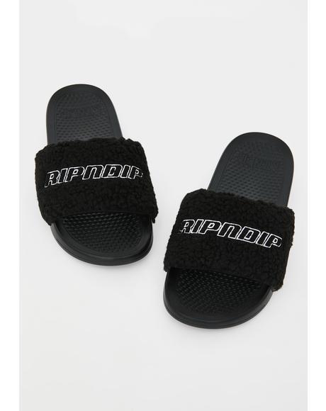 Fluffy Sandal Slides