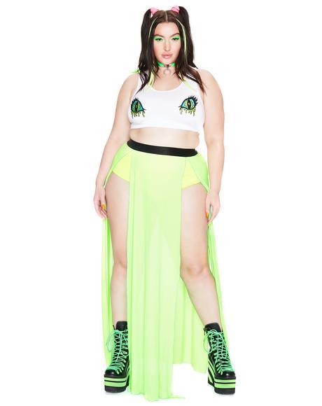 Bright Glowing Beatz Sheer Maxi Skirt