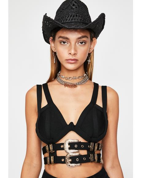 Western Heart Buckled Bustier