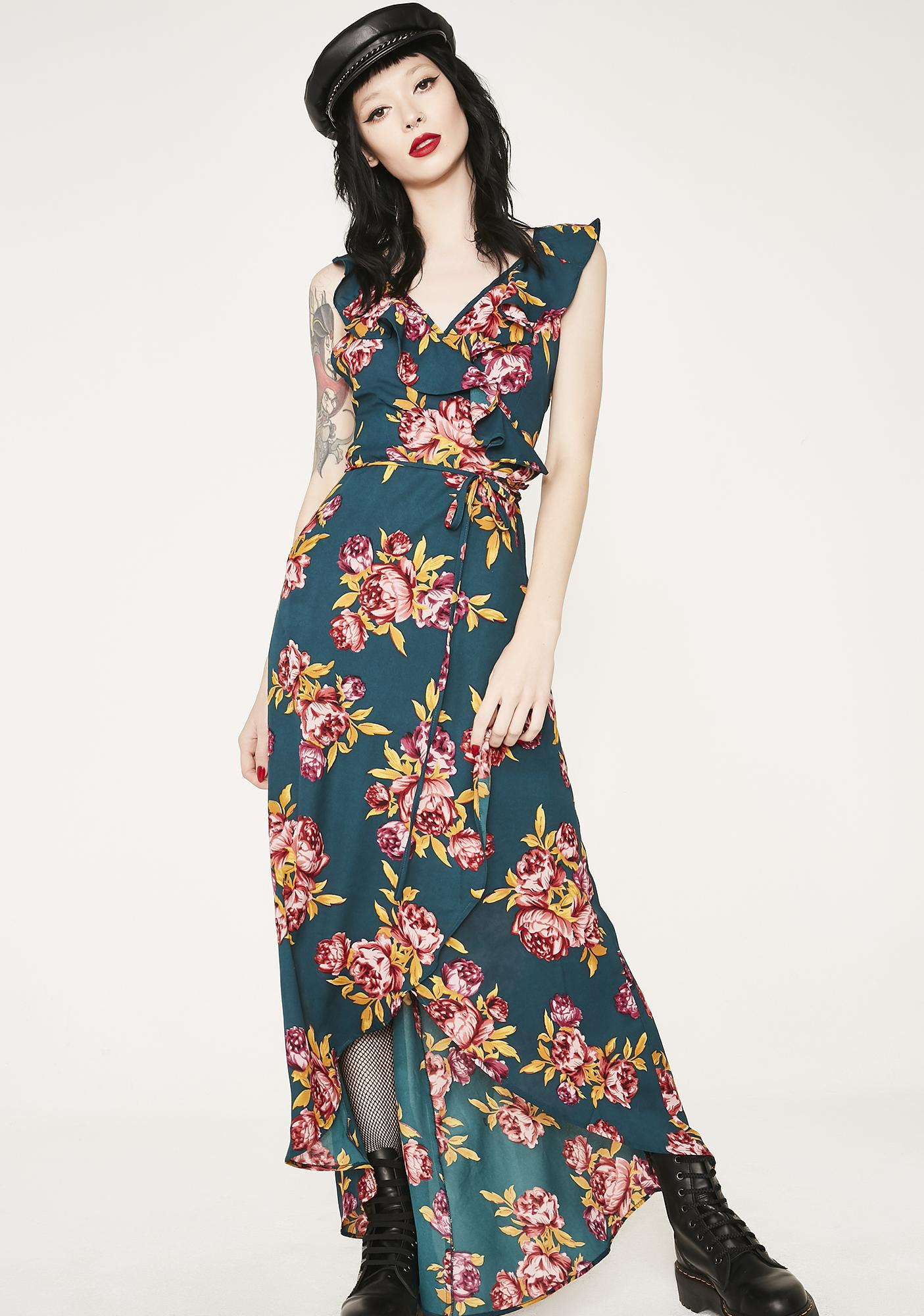 Sacred Hawk Floral Wrap Dress