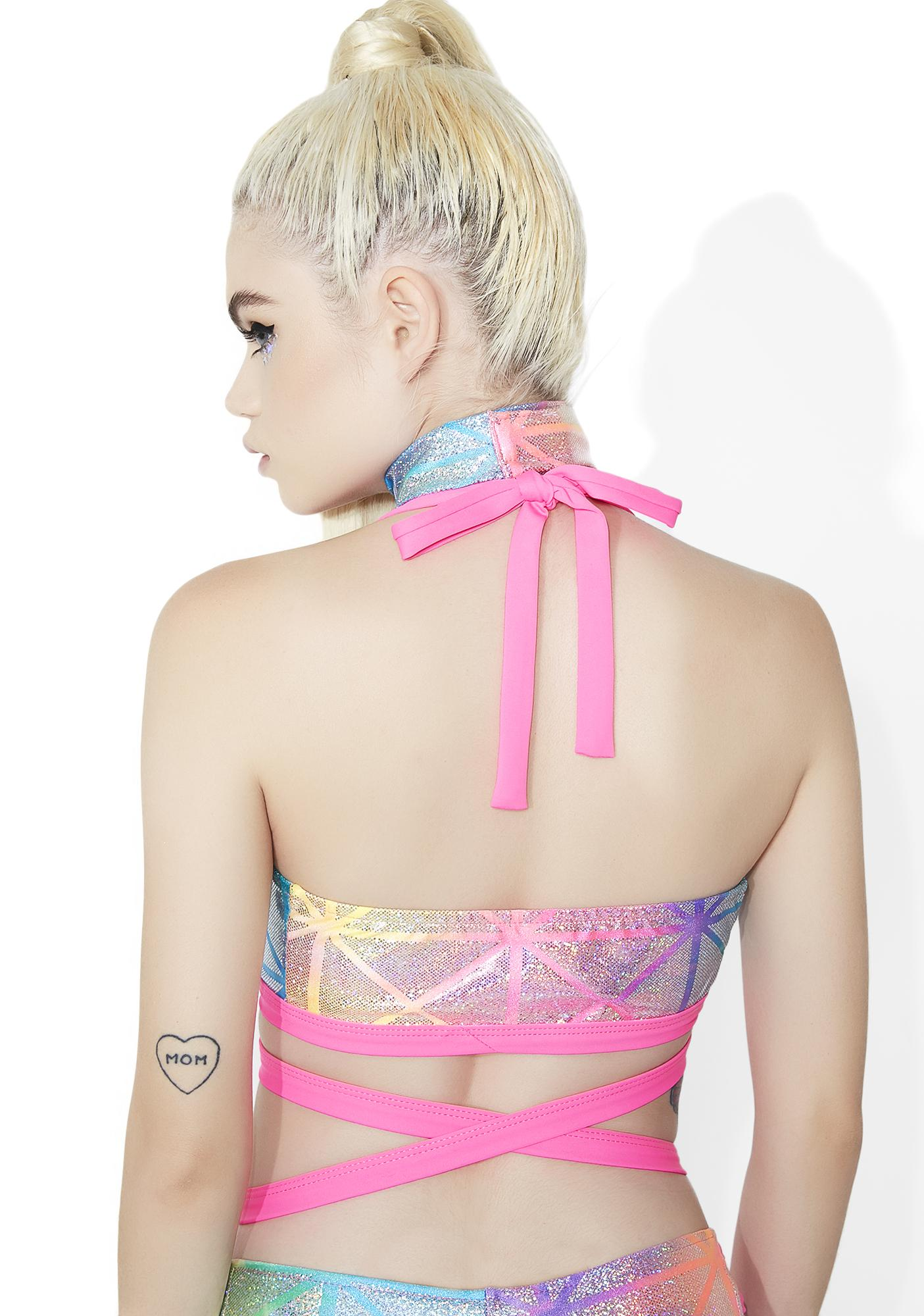 J Valentine Prism Power Wrapped Crop Top