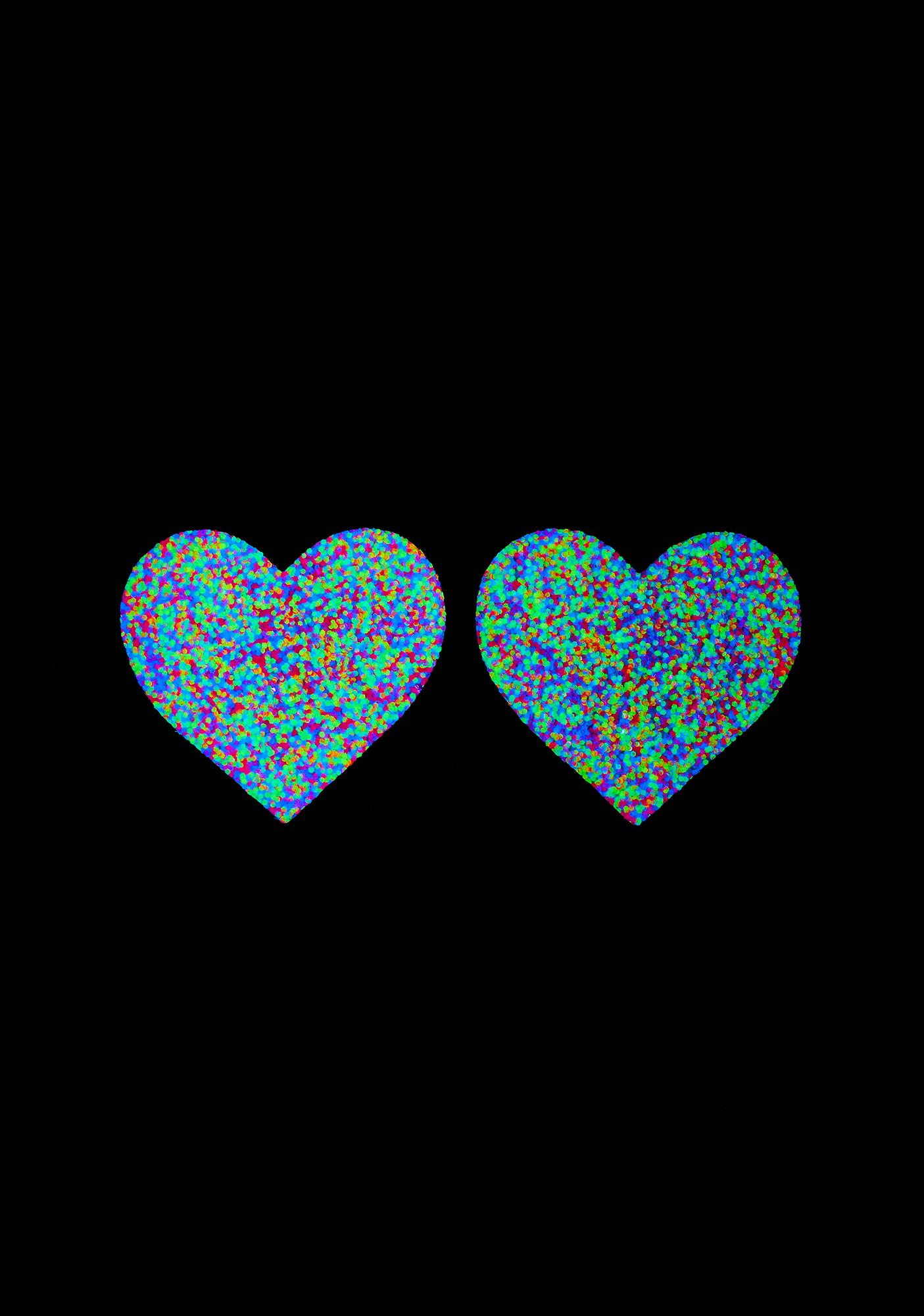Neva Nude Blacklight Glitter Heart Pasties