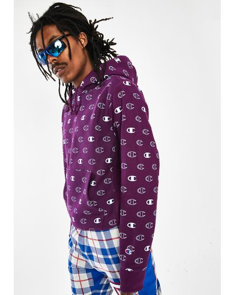 Purple All Over Print Reverse Weave Hoodie