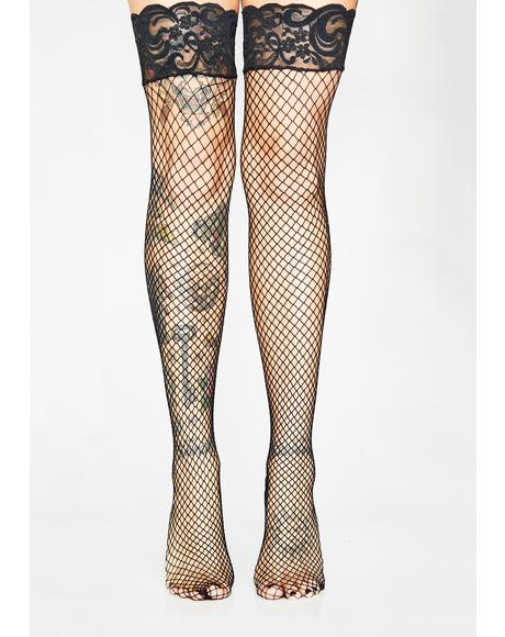 Vamp Vixen Back Seam Thigh Highs