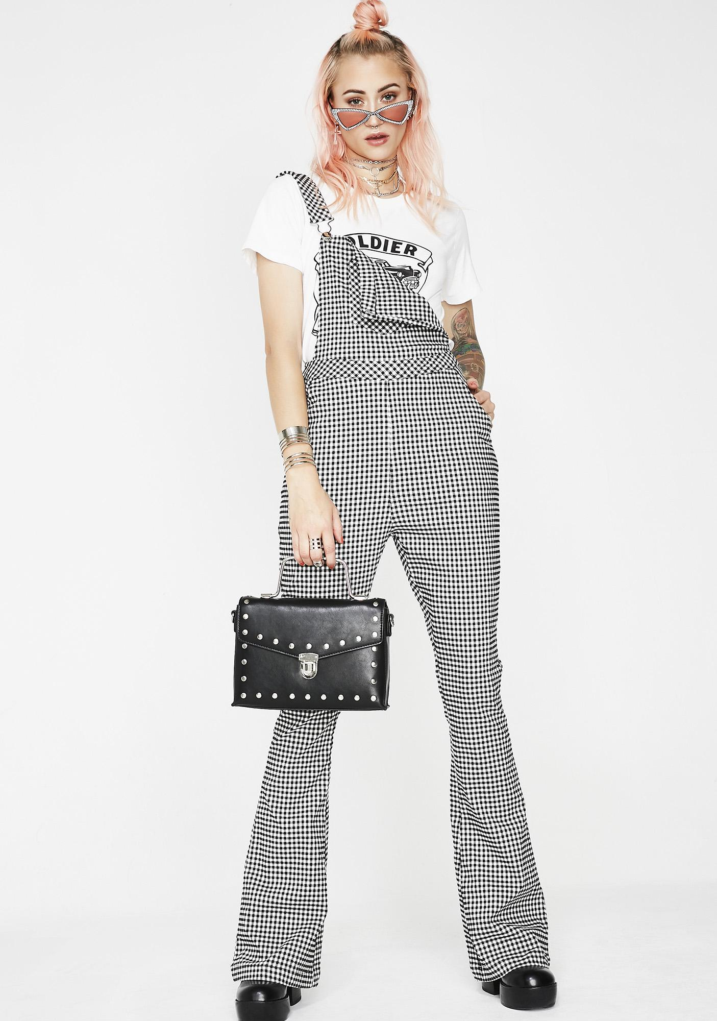 Bookin Cities Gingham Overalls