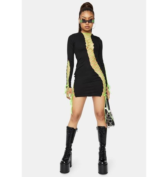 Future Groove Lace Up Bodycon Dress