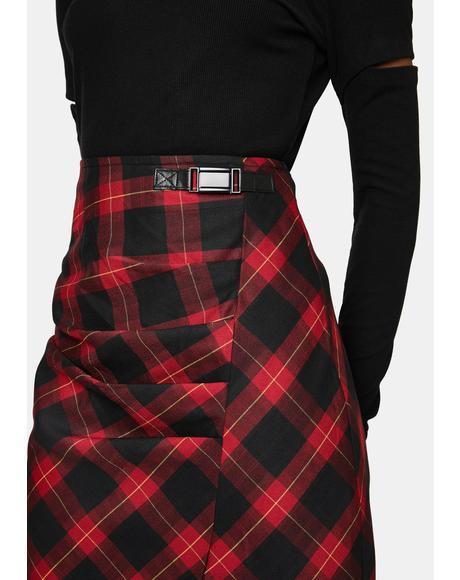 Ruched Plaid Midi Skirt