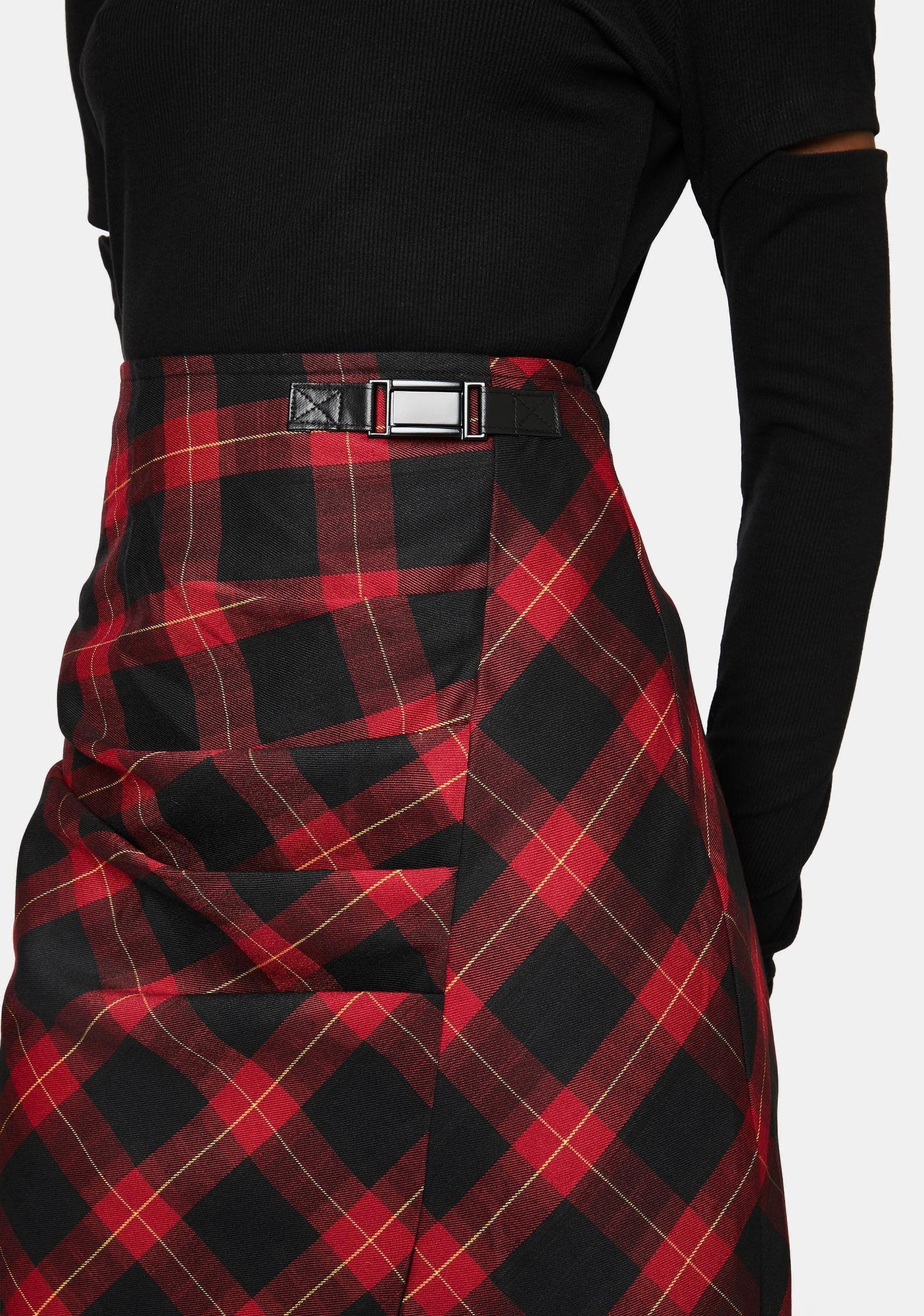 Punk Rave Ruched Plaid Midi Skirt