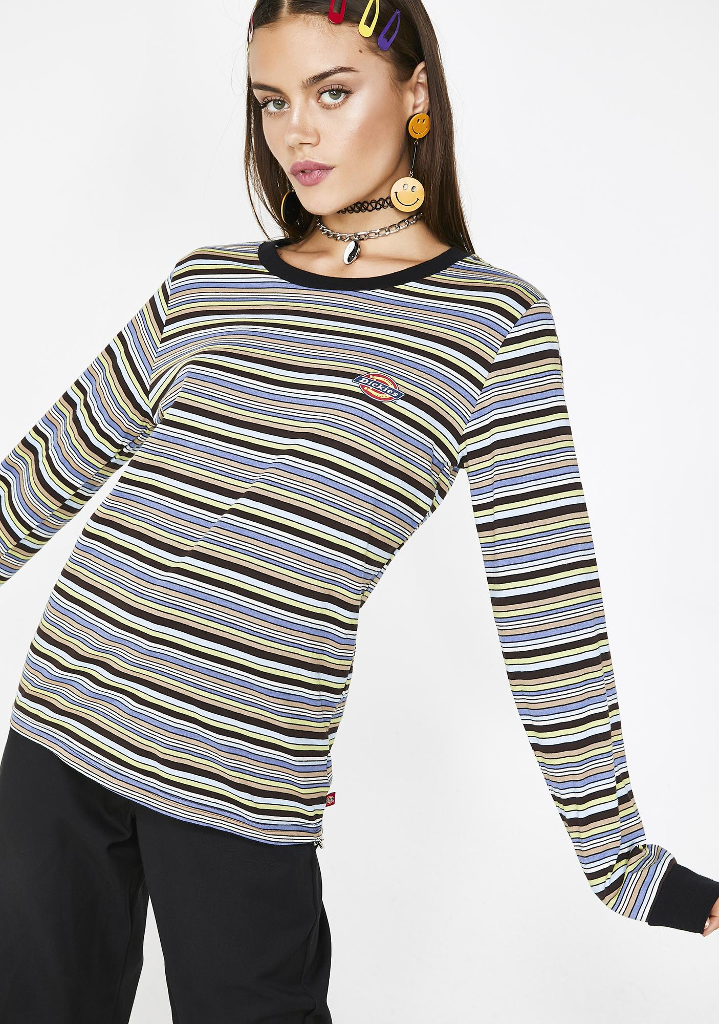 5d0b1a613e4 Dickies Girl Striped Horseshoe Logo Tee | Dolls Kill