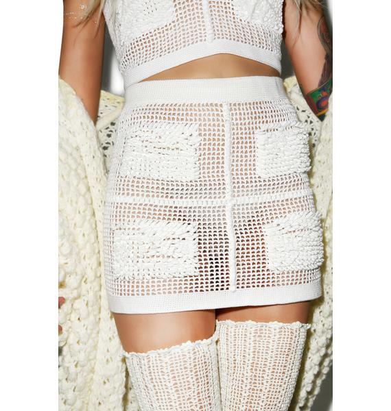 Maria ke Fisherman Textured Crochet Mini Skirt