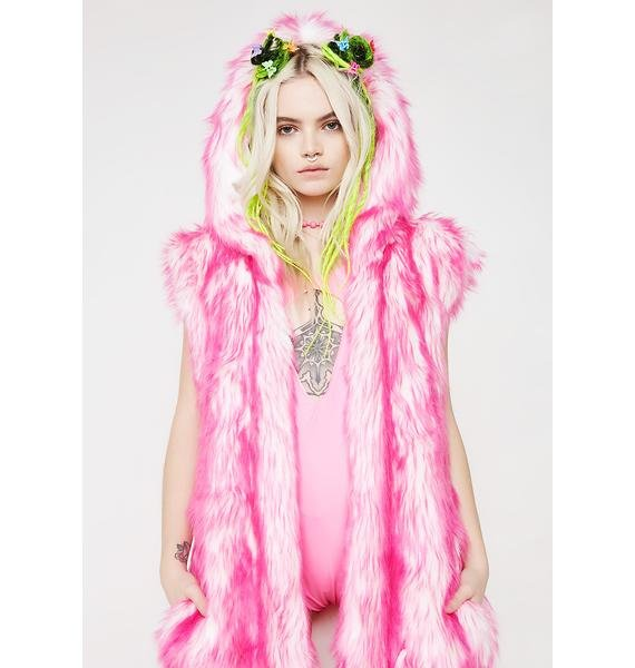 J Valentine Pink Light-Up Hooded Faux Fur Duster