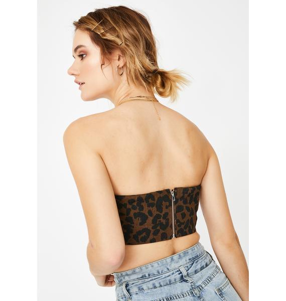 Ebonie N Ivory Leopard Bow Strapless Top