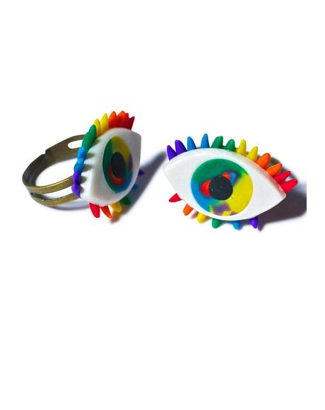 Third Eye Rainbow Ring Set