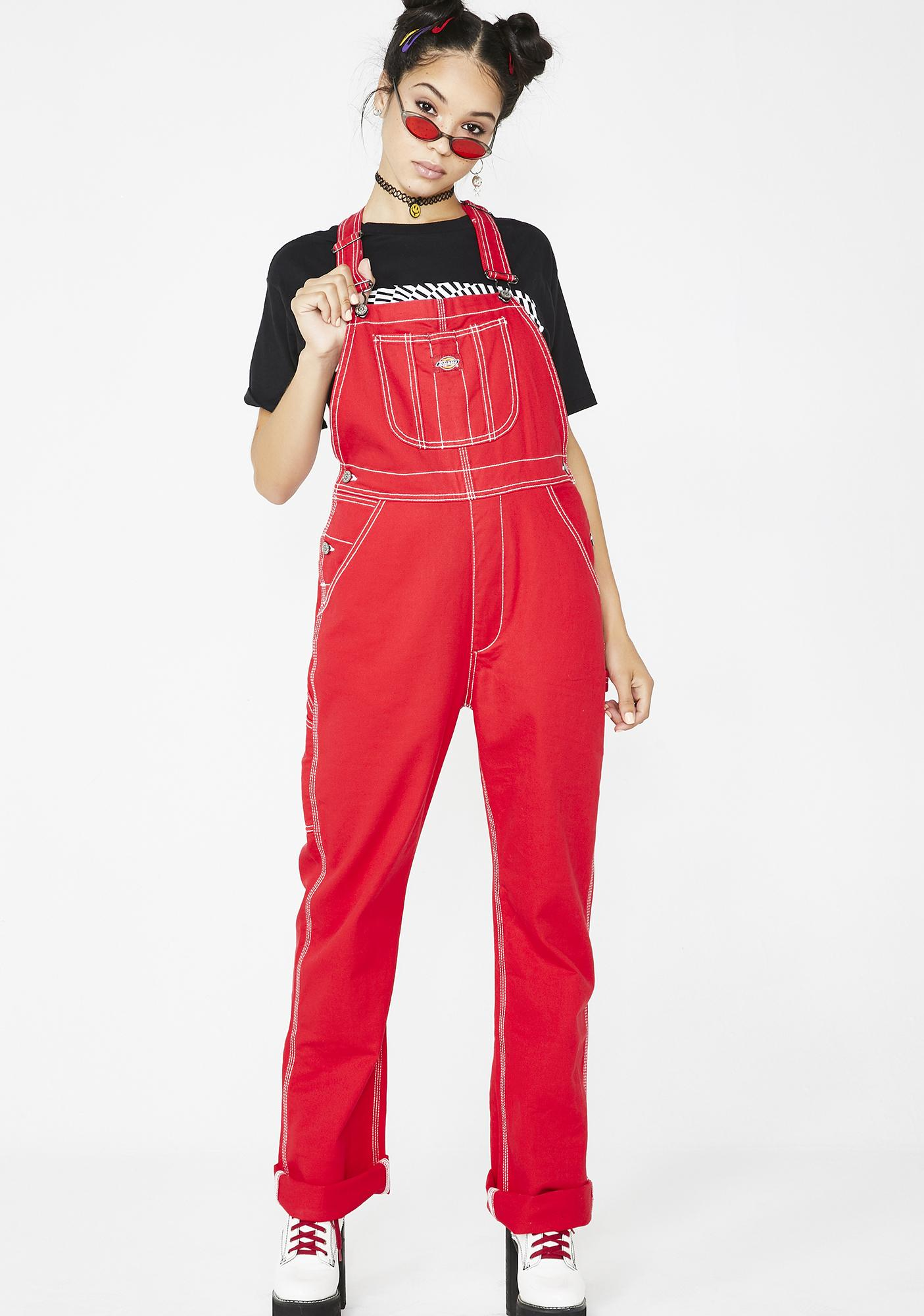 Dickies Girl Cherry Relaxed Twill Overalls