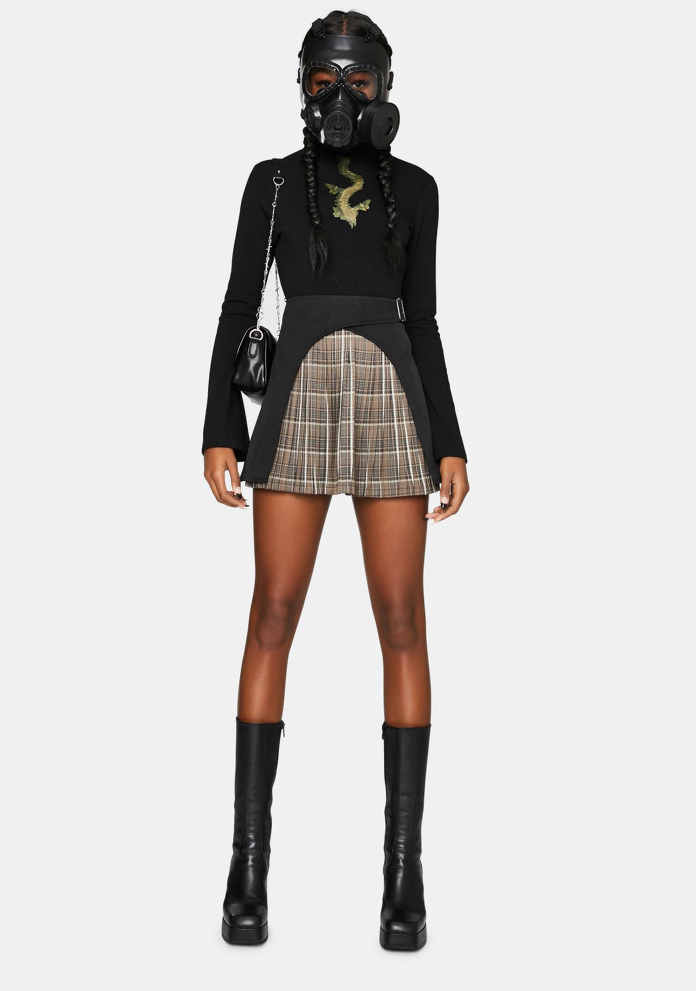 Punk Rave Paneled Wrap Pleated Mini Skirt