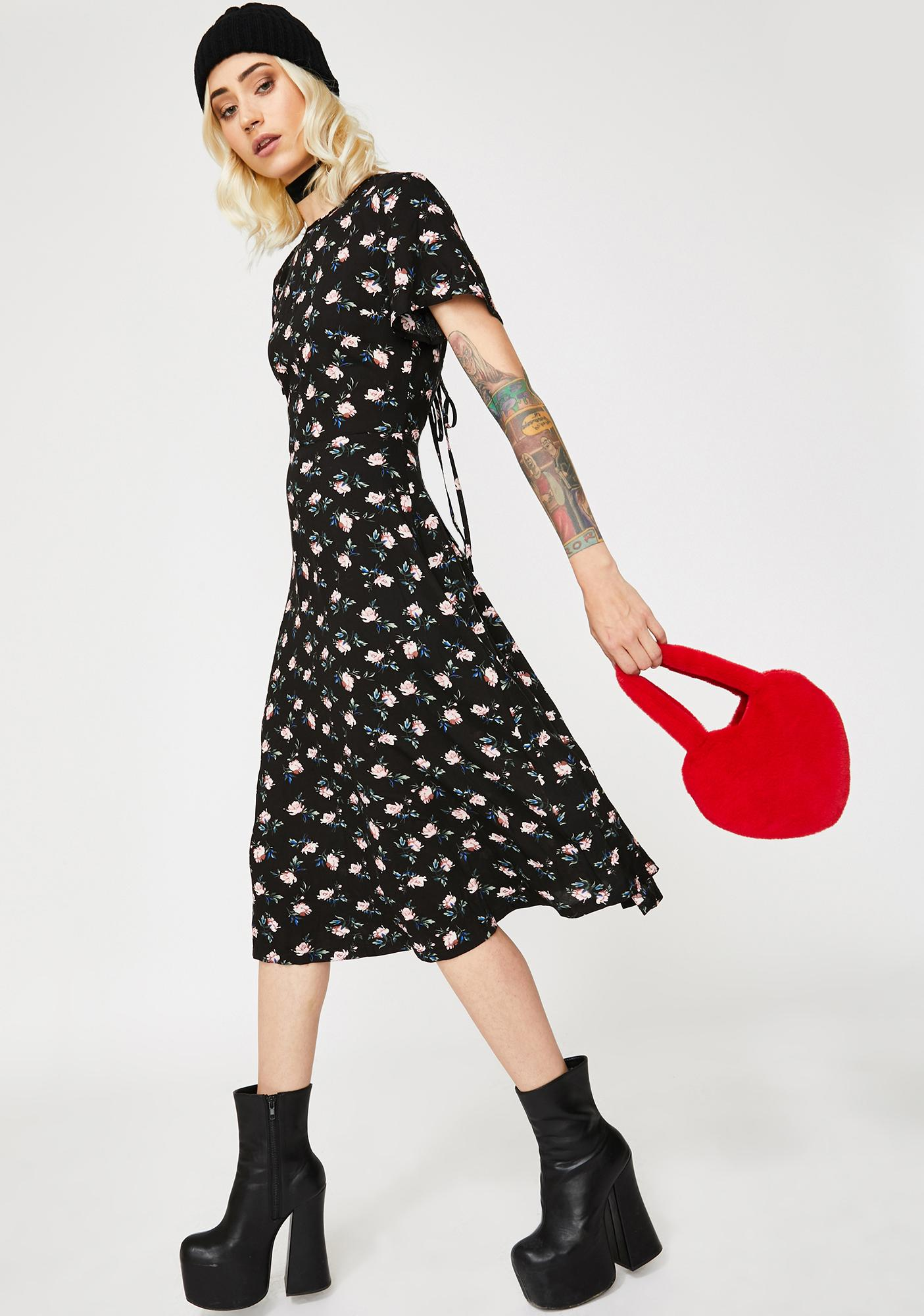 Daisy Street Floral Cut-Out Tie Back Midi Dress