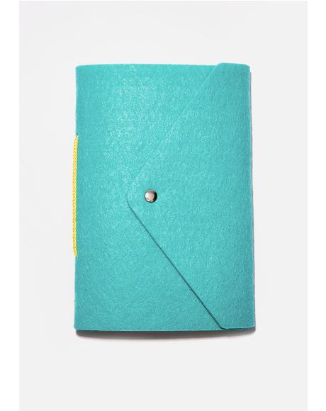 Turquoise Felt A5 Notebook