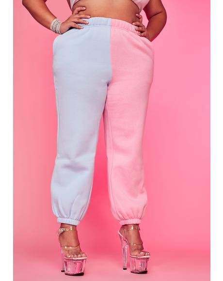 Cotton Candy Luxe Slacker Squad Two Tone Sweatpants