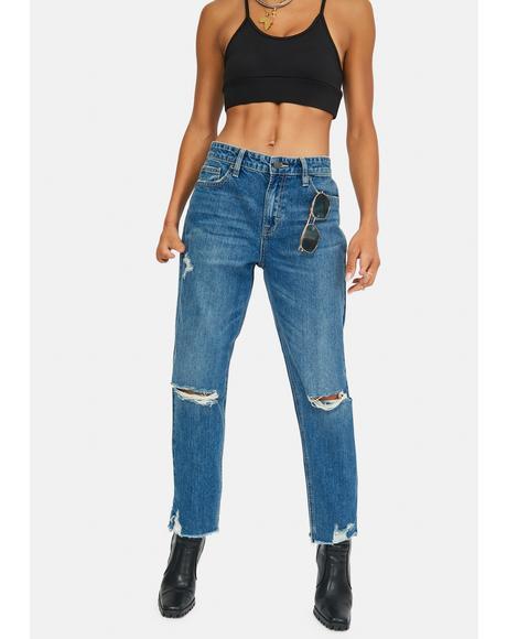 Medium Wash Boyfriend Jeans