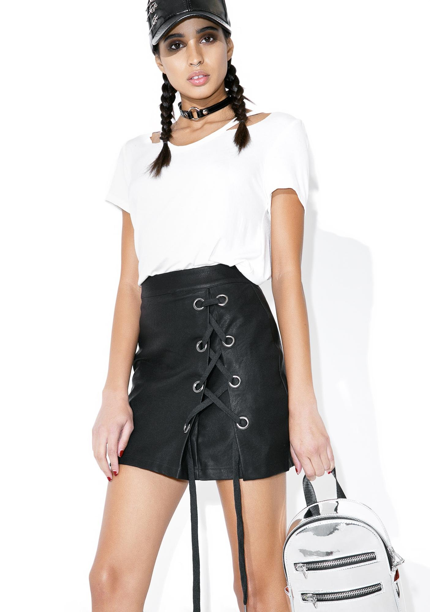 Midnight Rider Lace Up Skirt