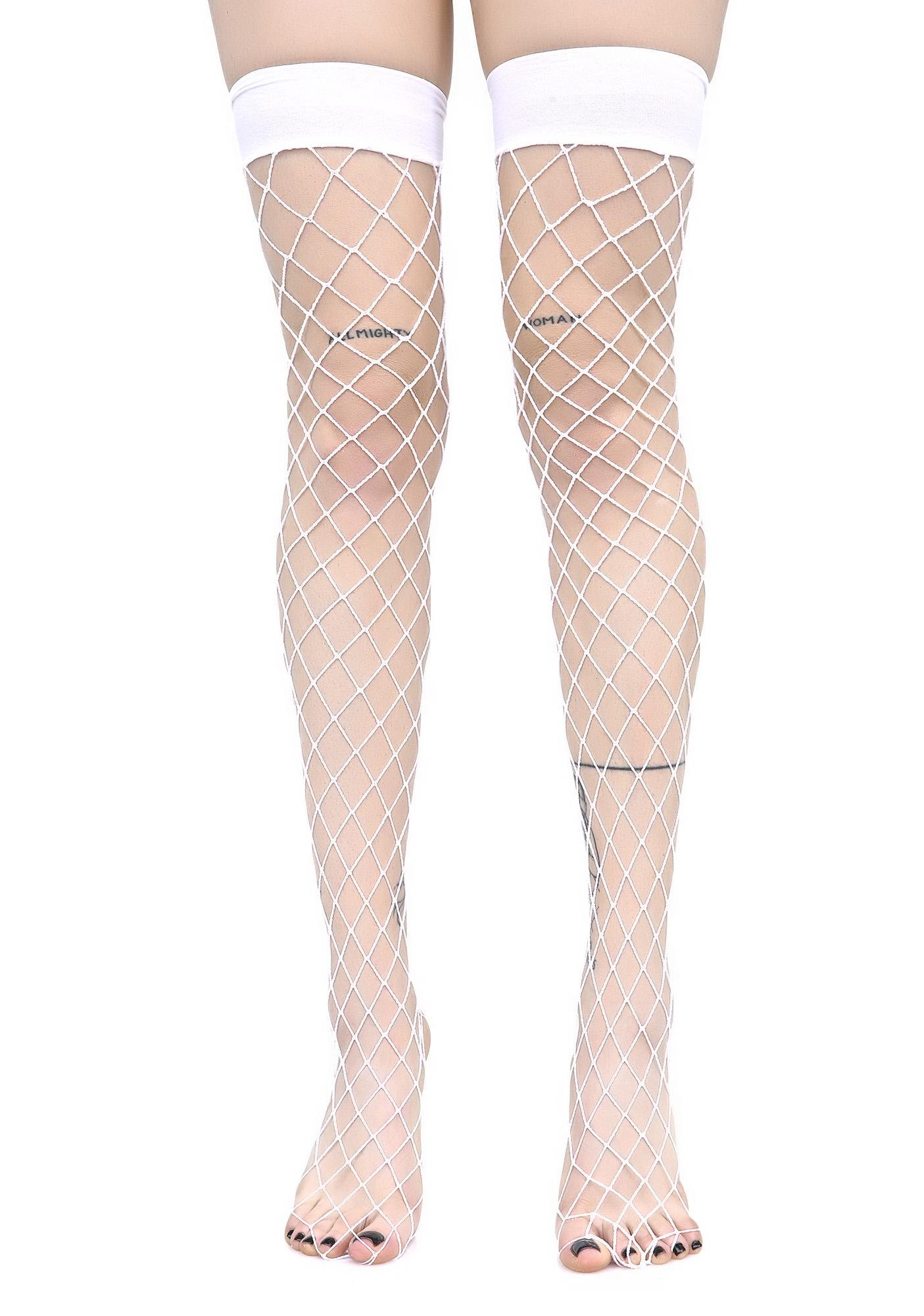 Worship Me White Fence Net Thigh Highs