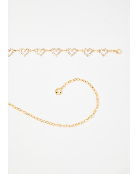Gold Endless Luv Chain Belt