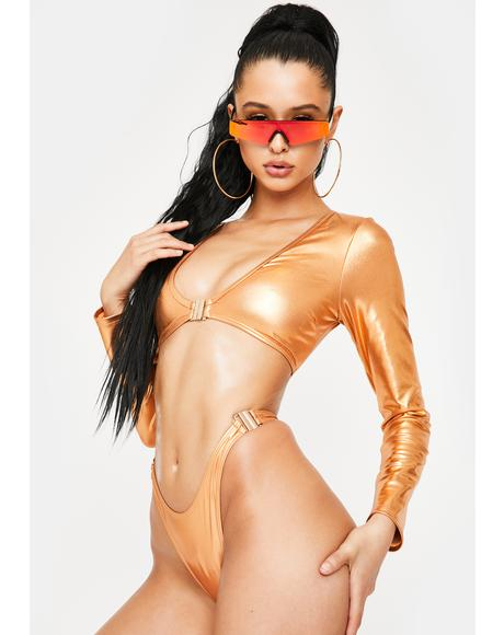 Bronze Beach Club Long Sleeve Bikini Set