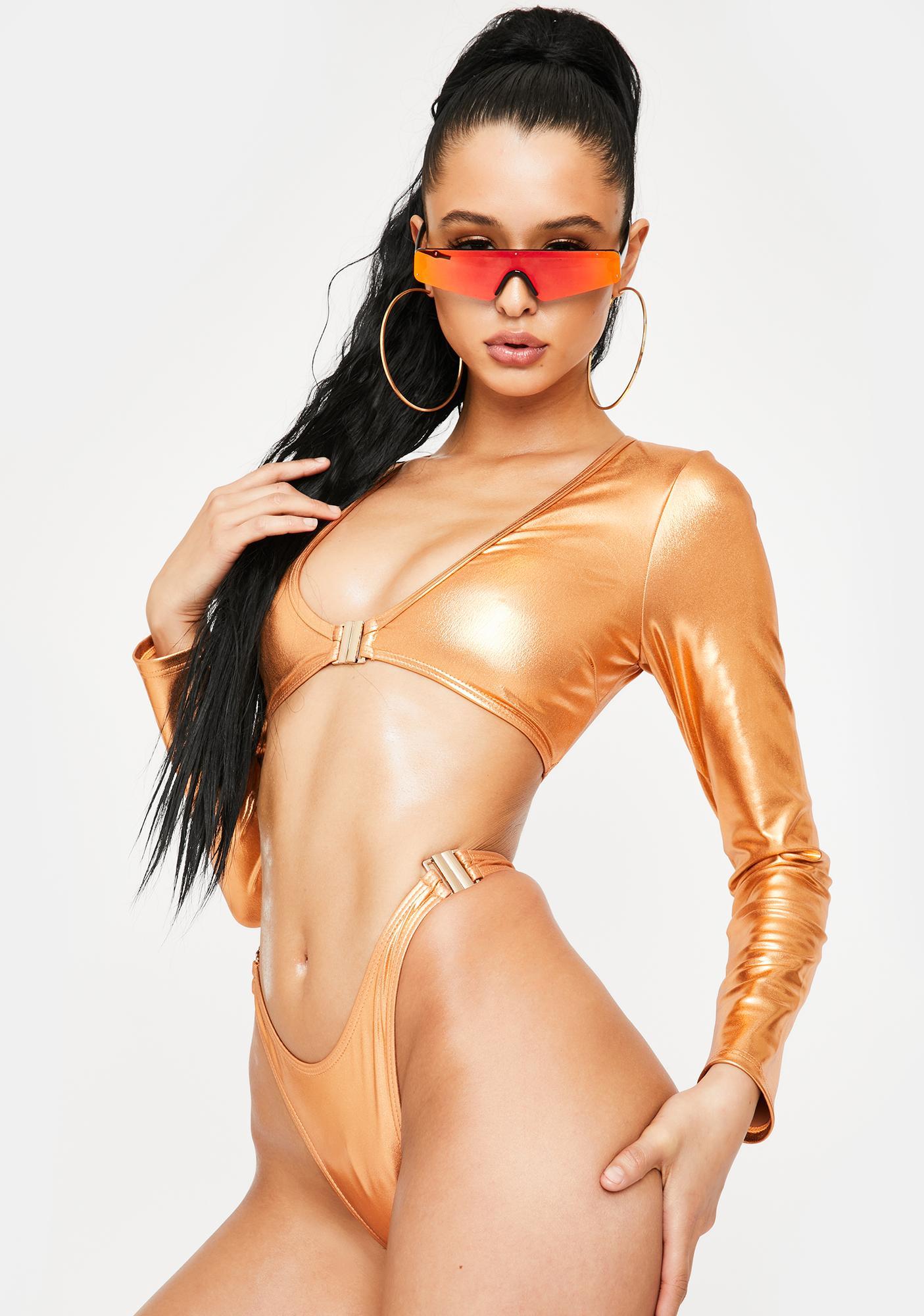 Poster Grl Bronze Beach Club Long Sleeve Bikini Set