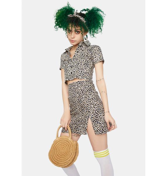 Motel Spring Fling Floral Black Sheny Mini Skirt