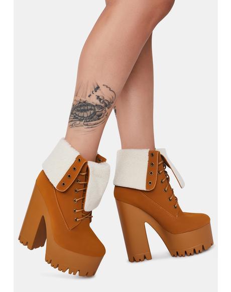 Camel Riana Platform Boots