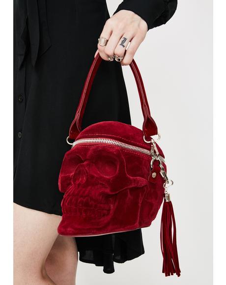 Blood Velvet Grave Digger Skull Handbag