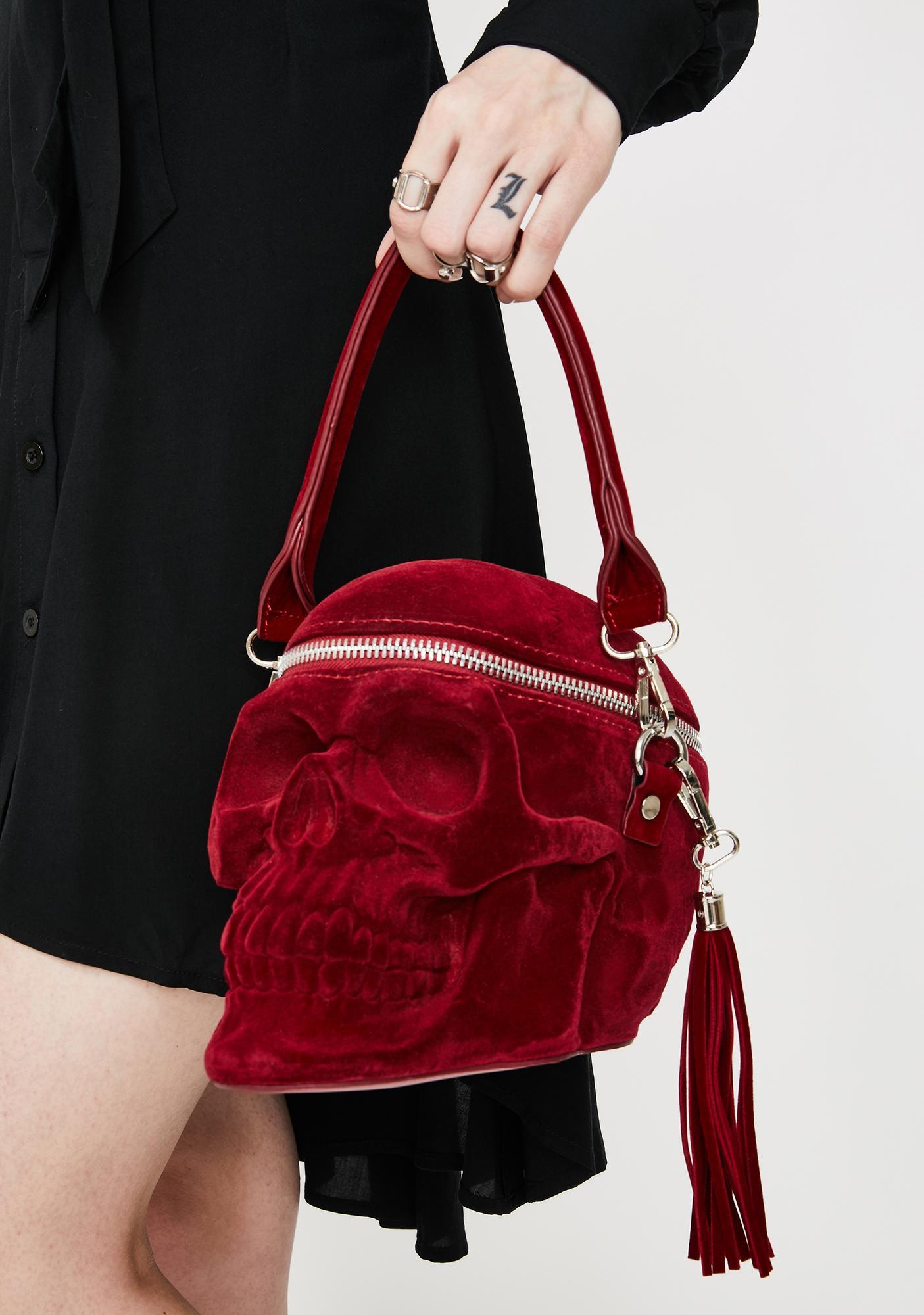 Killstar Blood Velvet Grave Digger Skull Handbag