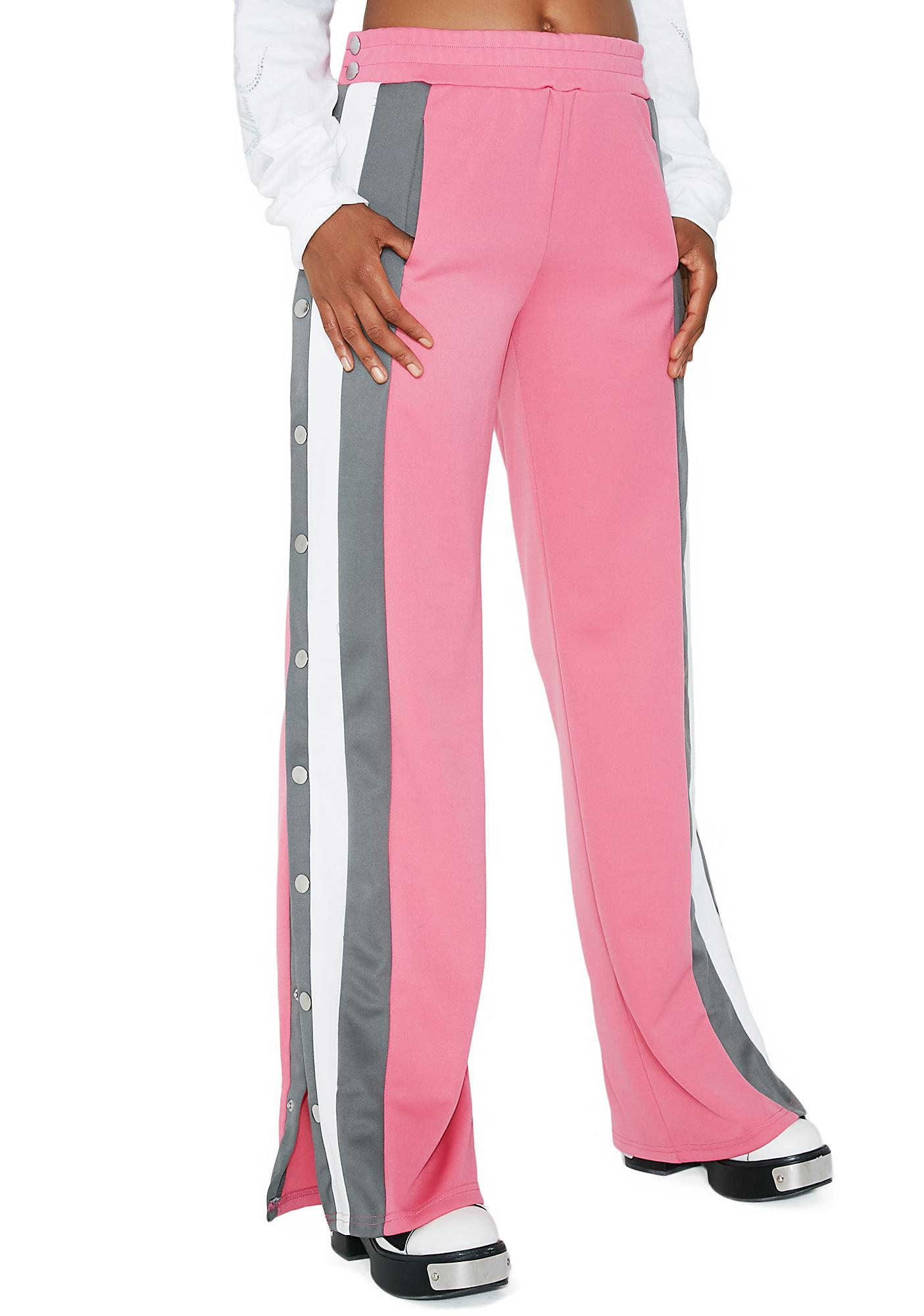 Rouge To The Max Button Track Pants