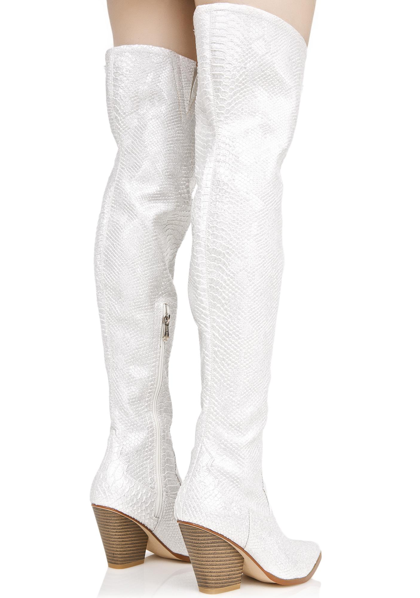 Silver Dusk Till Dawn Thigh-High Boots