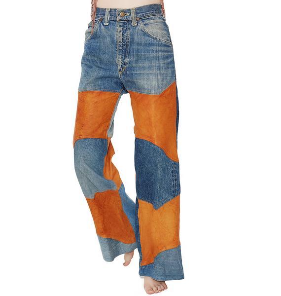 Vintage Leather Patched Denim Jeans