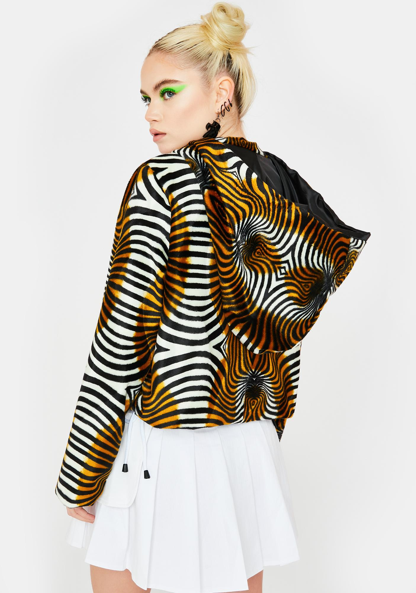 Ivy Berlin Trippy Tiger Faux Fur Jacket
