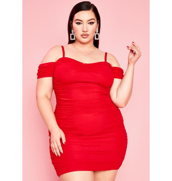 Sugar Thrillz Ur Red Light Special Ruched Dress