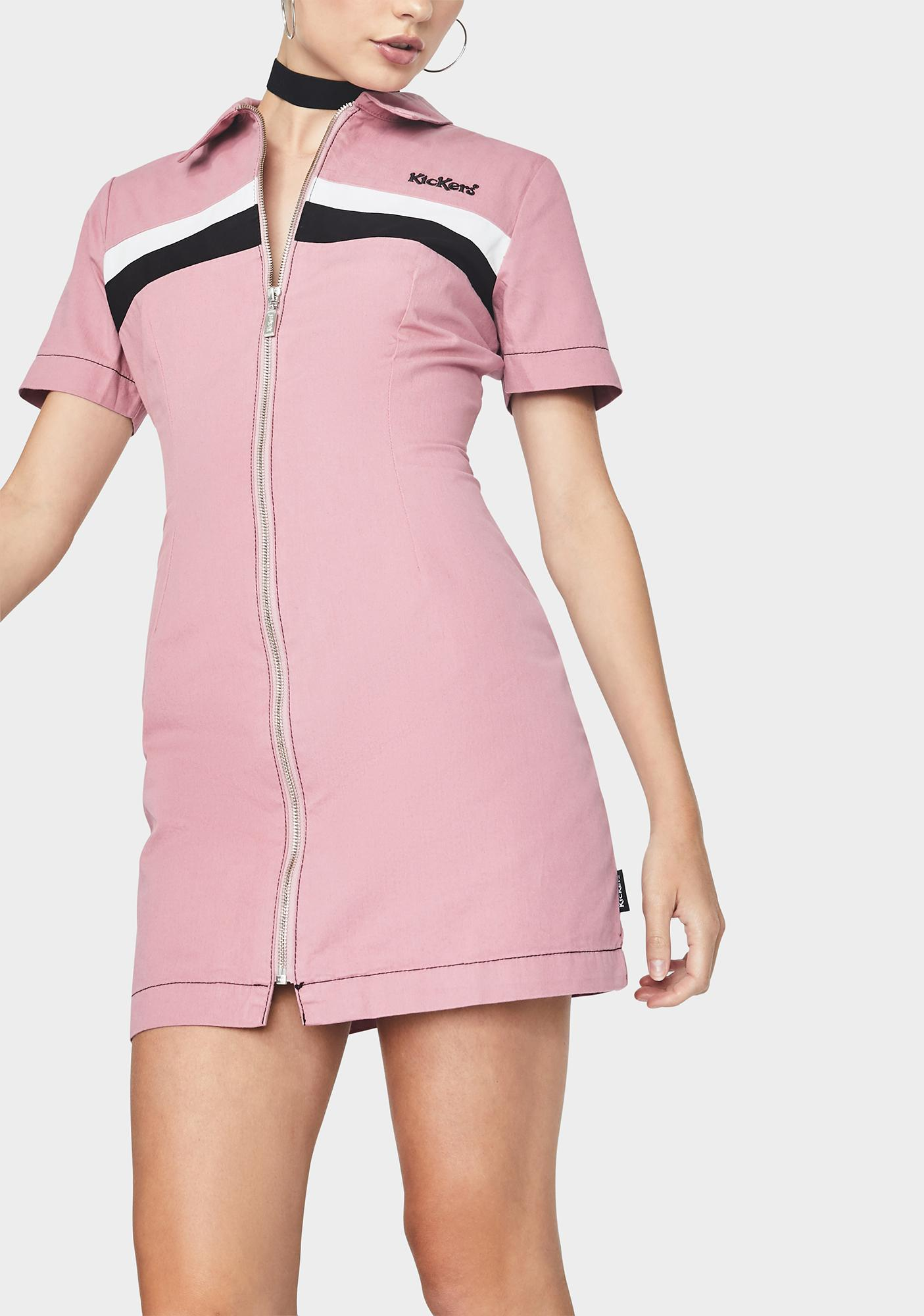 Kickers Stripe Panel Fitted Shirt Dress