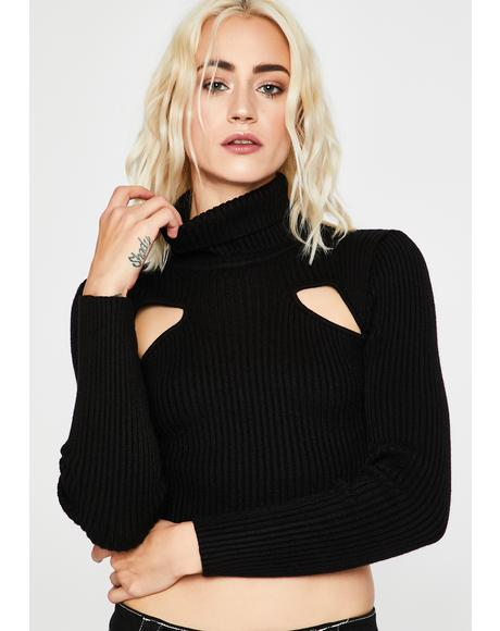 Dark Peep The Scene Cropped Sweater