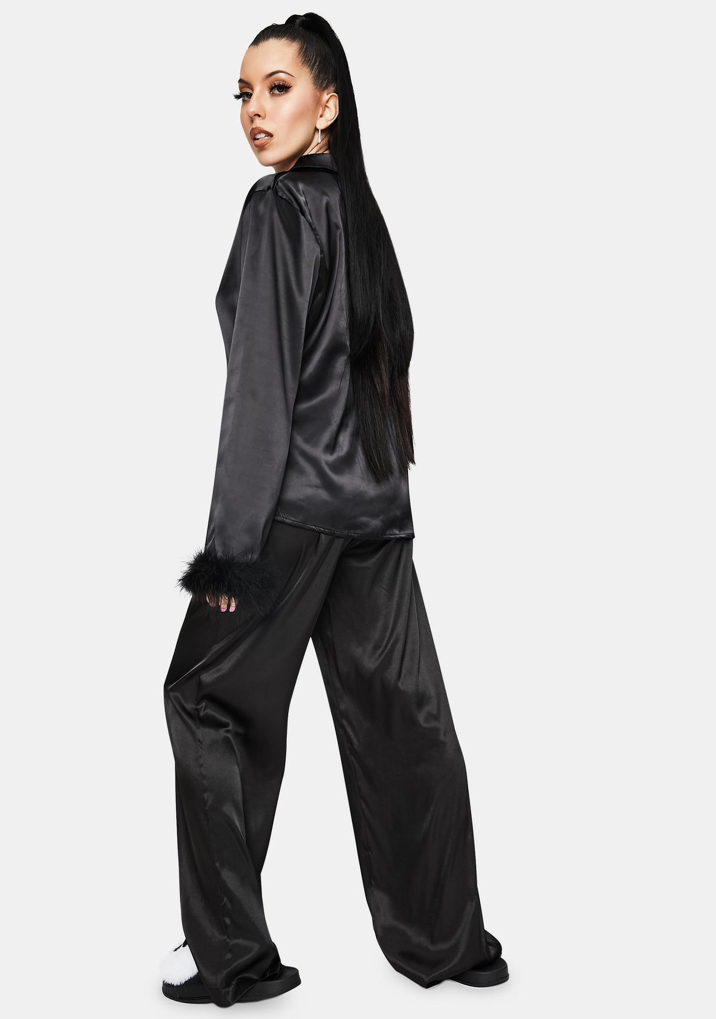 OW INTIMATES Black Sky Feather Pajamas Pants