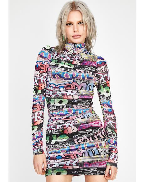 Too Much Talk Graffiti Print Dress